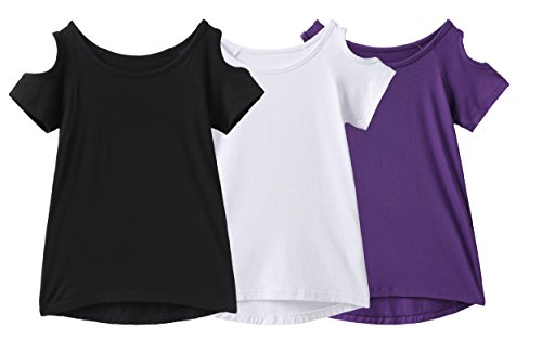 IRELIA 3 Pack Girls Crew Neck Tee Short Sleeve Shirts with Cold Shoulder BWP XL ()