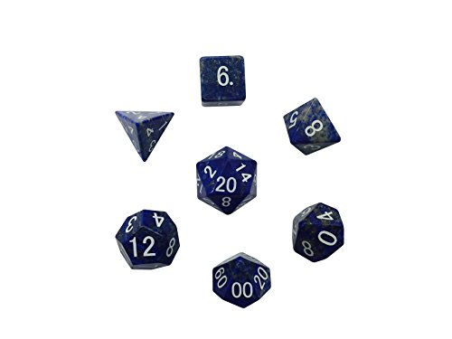 Set of 7 Polyhedral Gemstone Dice Lapis Lazuli Norse Foundry (Gem Dice Set)