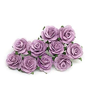 "1"" Lilac Paper Flowers Paper Rose Artificial Flowers Fake Flowers Artificial Roses Paper Craft Flowers Paper Rose Flower Mulberry Paper Flowers, 20 Pieces 41"