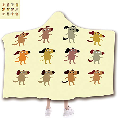 iPrint Unisex Wearable Hooded Blanket Unique Plush Throw Blankets Soft Suit for Kids(43