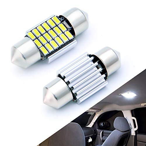AUTOGINE 4pcs CAN-Bus Error Free DE3175 DE3021 DE3022 3175 6428 LED Bulbs Festoon 31MM 1.25 Xenon White 3014 18-EX Chipsets for Car Interior Dome Map Door Courtesy License Plate Lights