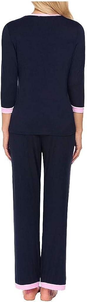 Camicia da Pigiama Premaman Pantaloni 2 Pezzi Invernali Manica Lunga Pigiama maternit/à Morbido Regolabile Pantaloni del Pigiama Set Donna Incinta