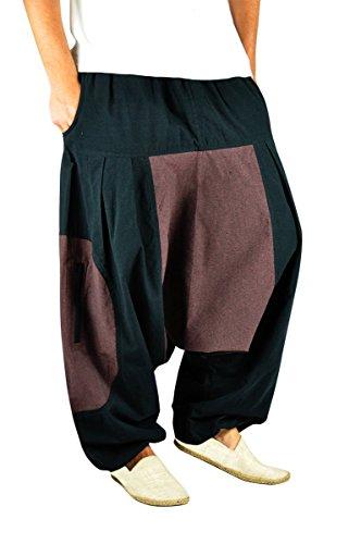 Hochwertige groß geschnittene Haremshose für Männer und Frauen als alternative Kleidung und Aladinhose von virblatt M - XL - Wasser