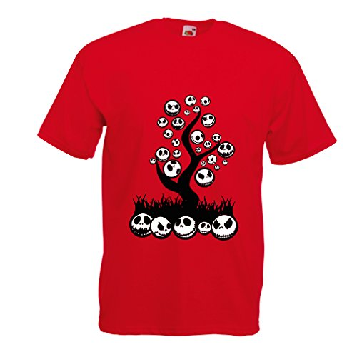 lepni.me T Shirts for Men The Nightmare Tree - Halloween Party Outfit (Small Red Multi Color) ()