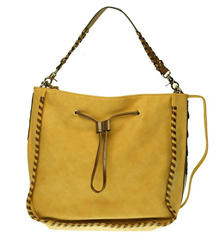 M.C. Handbags Maggie Tumbled Grain Hobo with Whip Stitch (Maggie Brown Handbags)