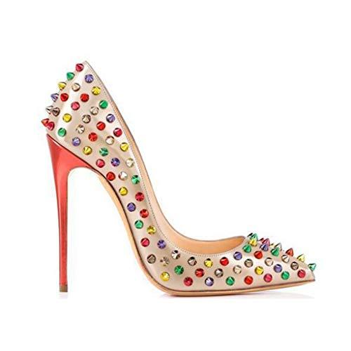 Cm Schuhe Single Schuhe Farbe Gradient Flache Absatzhöhe Bar Rivet 12 Spitzen Party Stiletto Frauen Abendkleid qw6tPR