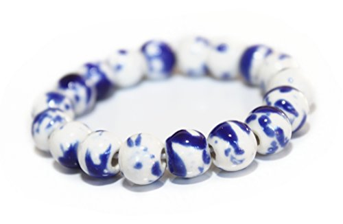 Happiness Jewelry Bracelet of Ceramic Fashion Vintage Unisex Zakka Japanese Style Handmade White Porcelain Elastic Bracelet (Blue)