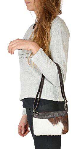 Echt Leder Kuhfell Handtasche für Damen: Kuhfelltasche klein -- exclusive Fell Handtasche Tracht Western