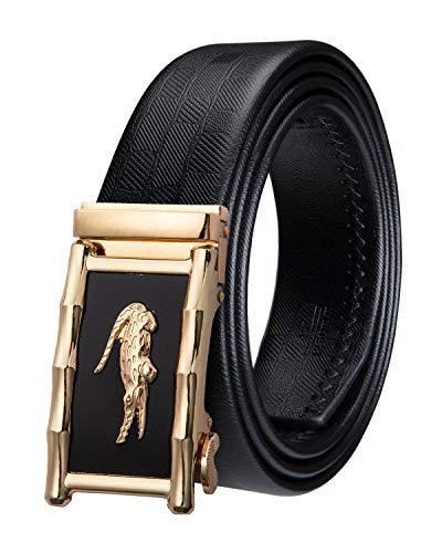Dubulle Black Leather Mens Belt Automatic Buckle Crocodile Buckle Belts Casual Leather Ratchet Belt for Men Gift