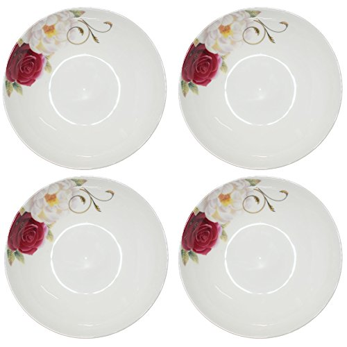 BandTie 4-Pack 4-Inch Small Size Round Plate Kitchen Dishes Chinese Jingdezhen Bone China Soy Sauce Dessert Plates Dish Fashion Creative Ceramics Tea Coffee Cup Saucer,Red White ()