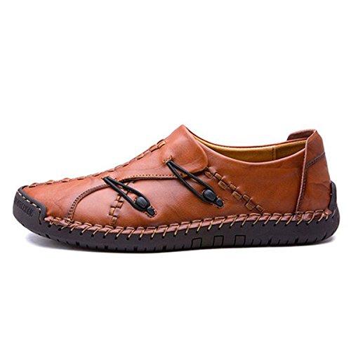 Pantofole Gracosy, Mens In Pelle Cucita A Mano Eleganti Mocassini Antiscivolo Da Barca Antiscivolo Casual Slip On Scarpe Rosso Marrone