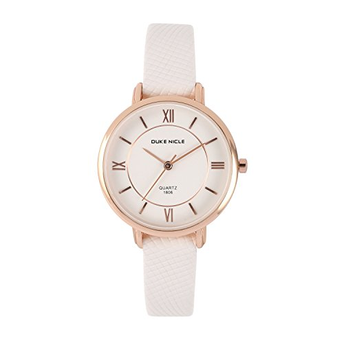 (Womens Fashion Watch,Ladies Elegant Waterproof Quartz Rose Gold Case Roman Numeral Casual Wrist Watches with Soft Genuine Leather Band (White))