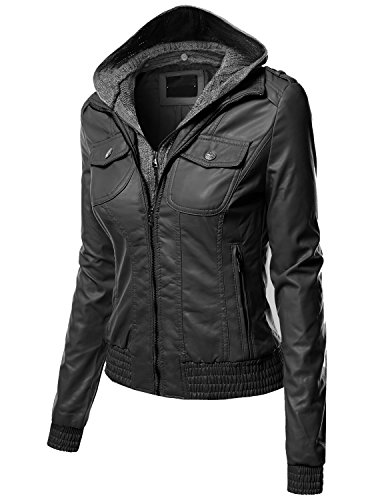 Xpril Women's Casual Zipper Closure Stitch Detailed Moto Hoodie Jacket - stylishcombatboots.com
