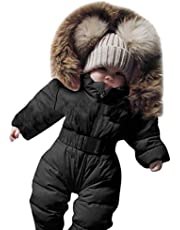 Baby Girls Boys Hooded Jumpsuit Winter Warm Down Coat Snowsuit Clothes