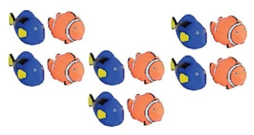 (Novelty Treasures Awesome Coral Reef Blue Tang Fish & Tropical Clownfish Squirt Bathtub and Pool Toys (Set of 12) )