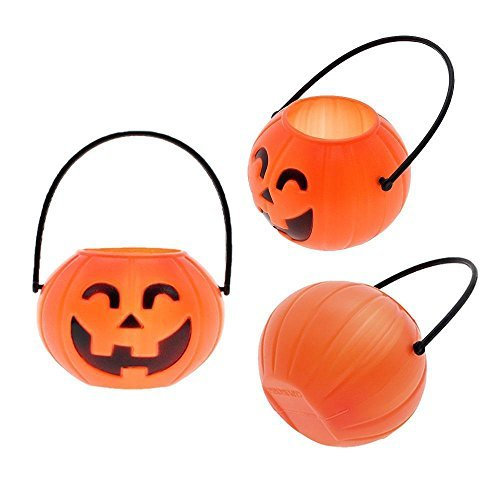 UNAKIM --2 Pcs Halloween Prop Plastic Pumpkin Bucket Candy Pot Holder Party Club Decor