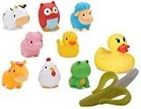 Munchkin Squirtin' Barnyard Friends and White Hot Bath Duck with Banana Brush Infant