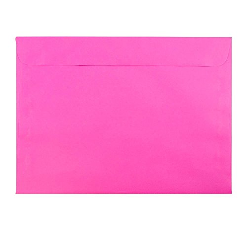 JAM PAPER 9 x 12 Booklet Colored Envelopes - Ultra Fuchsia Pink - 25/Pack