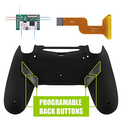 eXtremeRate Dawn Programable Remap Kit for PS4 Controller with Mod Chip & Redesigned Back Shell & 4 Back Buttons - Compatible with JDM-040/050/055 - Soft Touch Black (Color: Soft Touch Black)