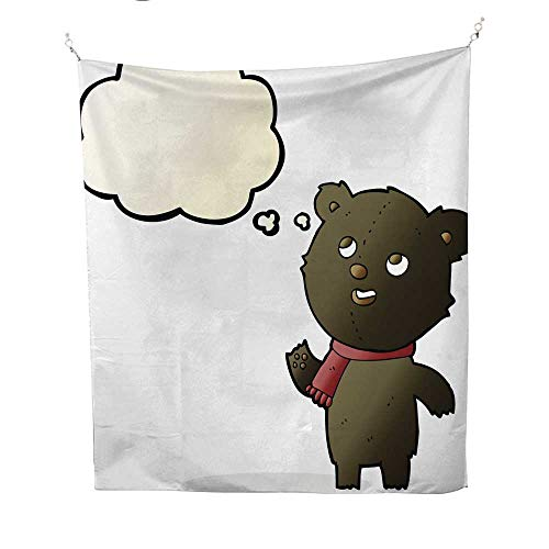 25 Home Decor Tye dye Tapestries Cartoon Black Bear Wearing Scarf with Thought Bubble Greatful Dead Tapestries 70W x 84L ()