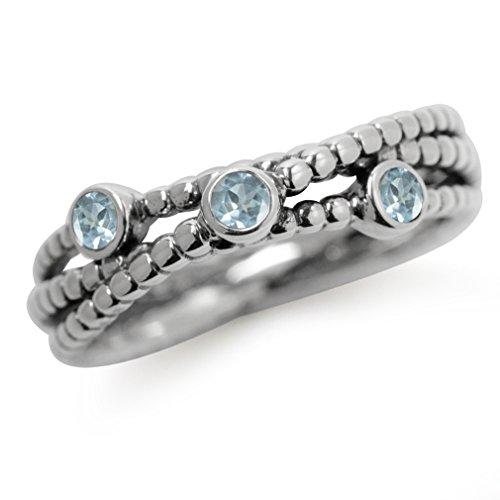 3-Stone Genuine Blue Topaz 925 Sterling Silver Stack/Stackable Ribbon Ring Size 5 (Blue Topaz Ring Stackable)