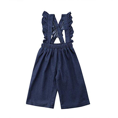 - GoodFilling Toddler Baby Girls Ruffle Strap Denim Suspenders Overalls Wide Leg Pants (4-5 T, Denim Blue)
