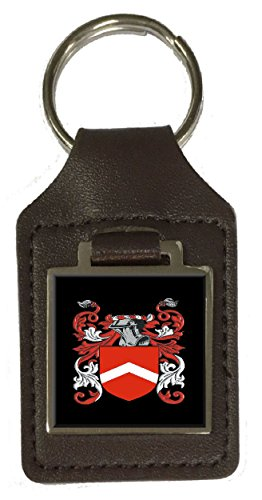 Melton Family Crest Surname Coat Of Arms Brown Leather Keyring Engraved - Melton Coat Of Arms