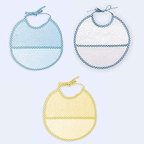 Ti TIN - Pack 3 Baberos de Punto de Cruz 100% Algodón con Tacto muy suave, Color Azul, 19x19 cm: Amazon.es: Bebé