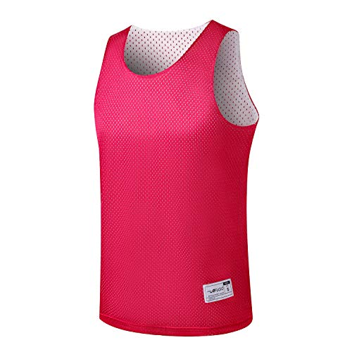 ALFGO Mesh Tank Top | Durable & Breathable Jersey 100% Polyester for Basketball, Soccer& Football | Moisture Wicking Reversible Jersey for Training | Gift of 3 Wristbands (Red/White, Large)