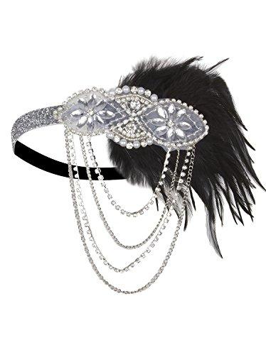 Vijiv Silver 1920s Flapper Headband Accessories Gatsby Style 20s Headpiece ()