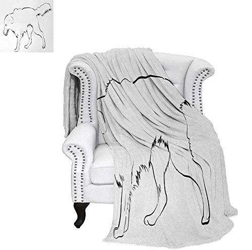 Weave Pattern Blanket Sketch Art Outline of a Dog Thoroughbred Furry Canine Pet Animal Custom Design Cozy Flannel Blanket 90