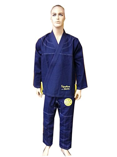Brazilian Jiu Jitsu Kimono Pearl Weave Gi Competition Uniform Woldorf Usa Navy Blue Yellow Rip Stop Pants Size 3 A1 (Weave Bjj Kimono)
