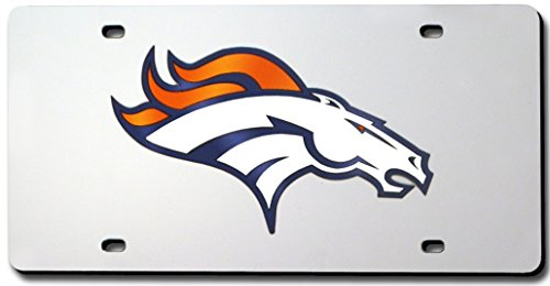 NFL Denver Broncos Silver Mirrored License Plate ()