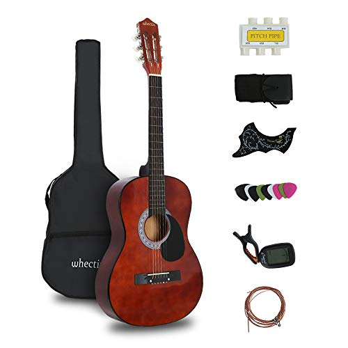 whectin 38 acoustic guitar 3 4 size for beginners adult youth steel strings with guitar case. Black Bedroom Furniture Sets. Home Design Ideas