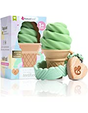 NatureBond Silicone Baby Teether - Ice-Cream shaped Teething Toy with Free Silicone Sling Pacifier Holder Clip   5 Beautiful Colors   BPA Free   Suitable for all Babies (Matcha - Green)