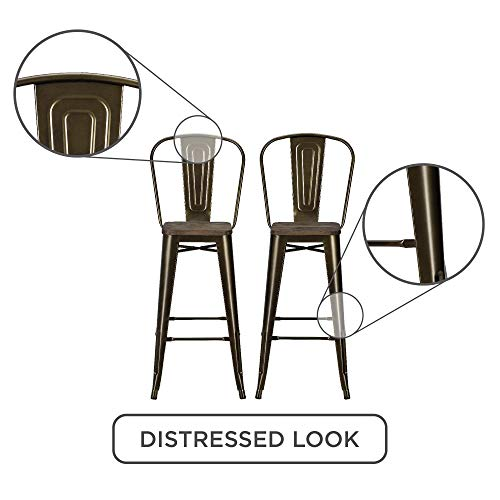 Pleasing Dhp Luxor Metal Counter Stool With Wood Seat And Backrest Gmtry Best Dining Table And Chair Ideas Images Gmtryco