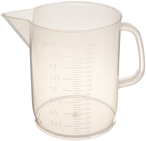 United Scientific 81123 Polypropylene Short Form Pitchers, 2000ml Capacity (Pack of 6)