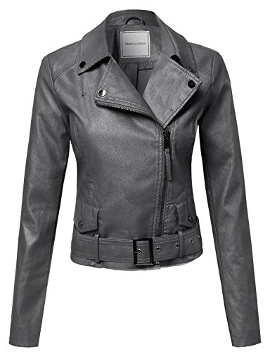 Made by Emma Classic Belted Biker Jacket Charcoal S Size
