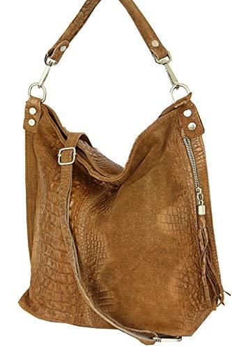 2107 Shopper borsa borsa look Italy a croco Caramello pelle tracolla Mod rrdX4qaPw1