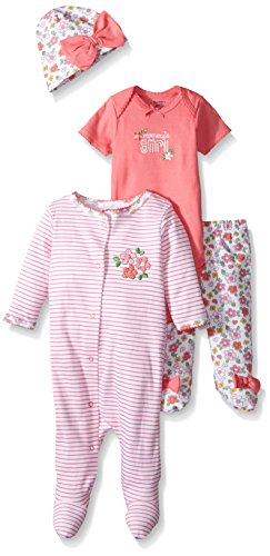 Gerber Baby 4 Piece Sleep 'n Play, Onesies, Footed Pant and Cap Set, flowers, 3-6 -