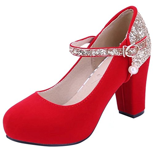YE Womens High Block Heels Mary Janes Court Shoes with Ankle Strap Close Toe Sandals Summer Shoes Red