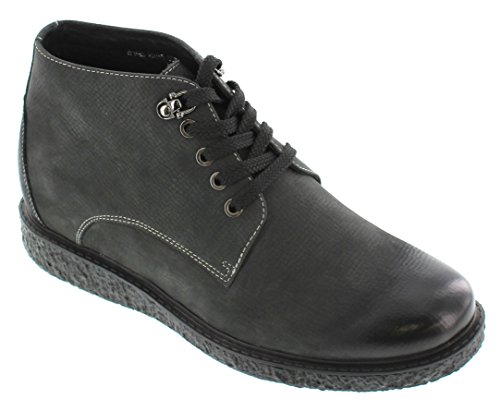Toto H5205-2.8 Inches Taller - Height Increasing Elevator Shoes - Nubuck Zwarte Veterschoenen
