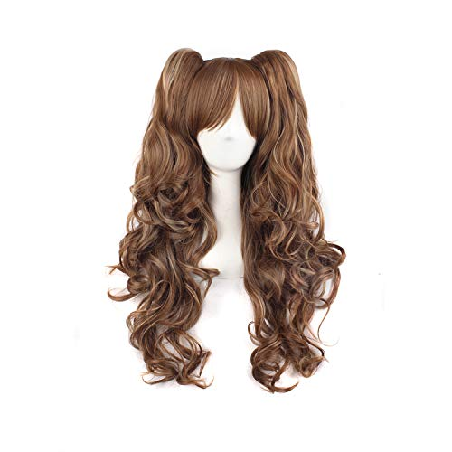 MapofBeauty Multi-color Lolita Long Curly Clip on Ponytails Cosplay Wig (Brown/Khaki)