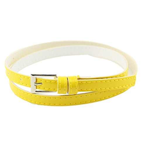 Sunward Woman Multicolor Small Candy Color Thin Leather Belt Ms Belt (Yellow)