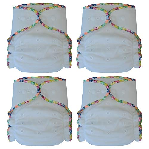 Fitted Cloth Diaper: Overnight Diaper with 2 Cotton Bamboo Inserts, One Size with Snap Buttons - Diapers Fitted Snappi