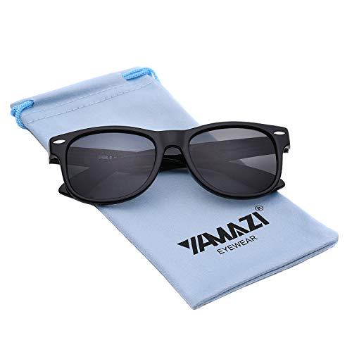YAMAZI Kids Polarized Sunglasses Sports Fashion For Boys And Girls Mirrored Lens (Bright Black, ()