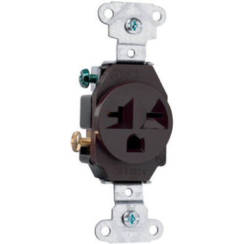Legrand-Pass & Seymour 5851CC8 Specification Grade Receptacle Single 20-Amp 250-volt Side-Wire, Brown