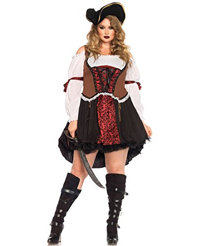 [Leg Avenue 85371X Plus Size Ruthless Pirate Wench Halloween Costume - Multicolor - 3X-4X] (Plus Size Halloween Costumes Pirate)
