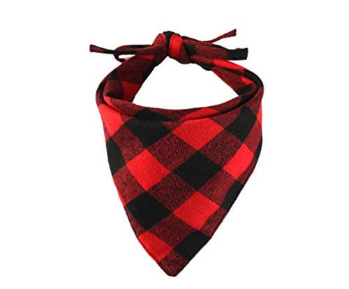 YAKA Pet Dog Bandana Double-Cotton Plaid Reversible Triangle Bibs Scarf Accessories for Dogs Cats Pets