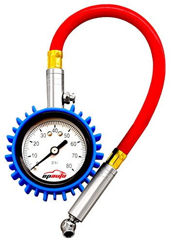 EPAuto Premium Tire Pressure Gauge w/ Rubber Guard, 2-inch Large Dial, for Bikes, Cars, Trucks, Motorcycles and SUV
